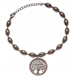 Bracelet acier café - arbre de vie - satiné - diamètre 2cm - 17+4cm