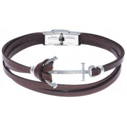 Bracelet acier pour homme - cuir italien marron -  ancre acier - 3 rangs - 21cm