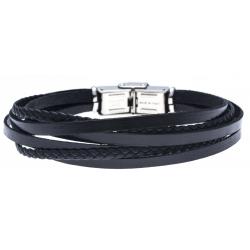 Bracelet acier pour homme - cuir et cuir tressé italien noir - 6 rangs - 21cm