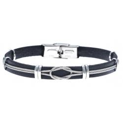 Bracelet acier pour homme - cuir italien noir -  cabler acier - 21cm