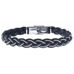 Bracelet acier pour homme - cuir tressé italien noir -  cabler acier - 21cm