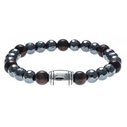 Bracelet acier pour homme - élastique - hématite - œil de tigre - 21cm