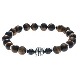 Bracelet acier pour homme - élastique - œil de tigre - 21cm