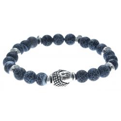 Bracelet acier pour homme - élastique -  bouddha - agate et agate patinée noire (pierre teintée)