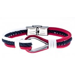 Bracelet acier pour homme - nautique - bleu, blanc et rouge - 3 cordes - 21cm