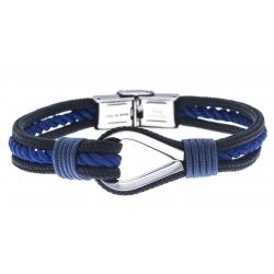 Bracelet acier pour homme - nautique - noir et bleu - 3 cordes - 21cm