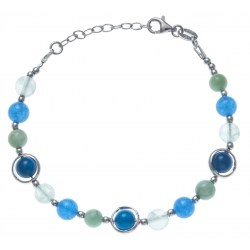 Bracelet argent rhodié 8,2g - amazonite - fluorite -  agate bleue et azur - 17+3