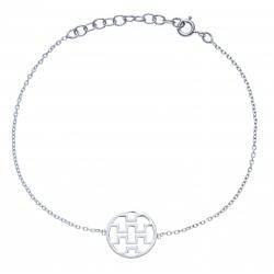 Bracelet argent rhodié 1,4g - motifs géométriques  - 17+3cm