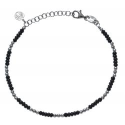 Bracelet argent rhodié 3,3g - perles argent et perles noires - 17+3cm