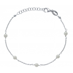 Bracelet argent rhodié 1,9g -  5 perles blanches - 17+3cm