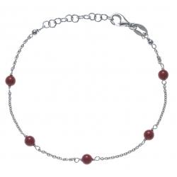 Bracelet argent rhodié 1,9g -  5 perles rouges - 17+3cm