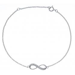 Bracelet argent rhodié 1,3g - infini -zircons - 17+3cm