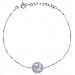 Bracelet argent rhodié 2g - zircons rond - 17+3cm