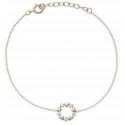 Bracelet plaqué or - cœur - zircons - 17+3cm