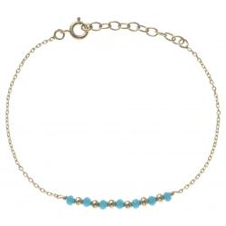 Bracelet plaqué or - 7 boules plaquées - 7 boules bleues turquoises -  17+3cm