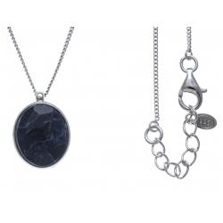 Collier argent rhodié 5,6g - aquamarine - sodalite - 45+3cm