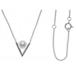 Collier argent rhodié 1,8g - perle de culture véritable - 40+5cm