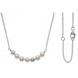 Collier argent rhodié 2,7g - 6 perles de culture blanches - 40+5cm