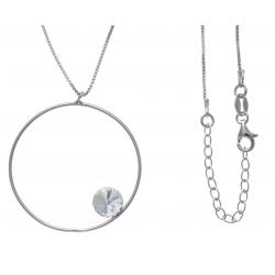 Collier argent rhodié 4,2g - rond - cristal de swarovski - 40+5cm