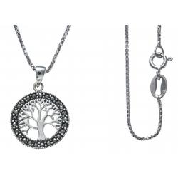 Collier argent rhodié 3,8g - arbre de vie - marcassites - diamètre 1,5cm - 38+5