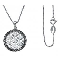 Collier argent rhodié 4,8g - fleur de vie - marcassites - diamètre 2cm - 40cm