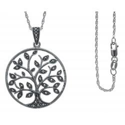 Collier argent rhodié 7,4g - arbre de vie - marcassites - arbre de vie - marcas