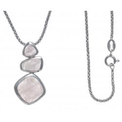Collier argent rhodié 6,2g - quartz rose - 45cm