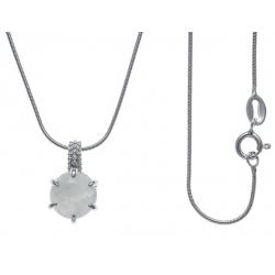 Collier argent rhodié 4g - pierre de lune - 40cm