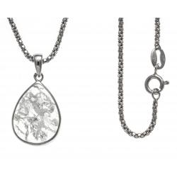 Collier argent rhodié 4,1g - quartz - cristal de roche - 45cm
