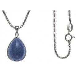 Collier argent rhodié 4,1g - aventurine bleue - 45cm