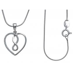 Collier argent rhodié 4,7g - cœur - infini - zircons - 40 cm