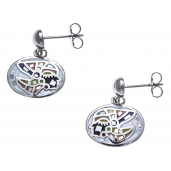 Boucles d'oreille acier - nacre - email - indien