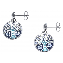 Boucles d'oreille acier - nacre - email - arbre de vie - teintes bleues