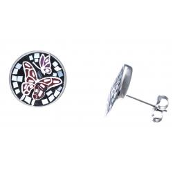 Boucles d'oreille acier - nacre - email - papillon