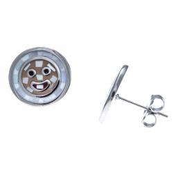 Boucles d'oreille acier - nacre - email - smileys