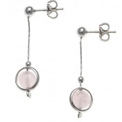 Boucles d'oreille argent rhodié 2,4g - pendante fil 2cm - boule agate rose 6mm