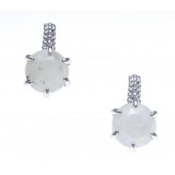 Boucles d'oreille argent rhodié 3g - pierre de lune