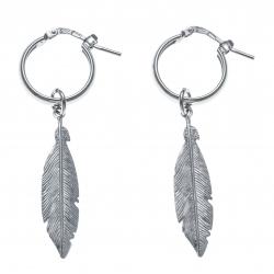 Boucles d'oreille argent rhodié 2,7g - créole 1,5cm - plume 3cm