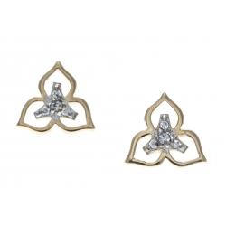 Boucles d'oreille plaqué or - iris - triskel - 2 tons - zircons