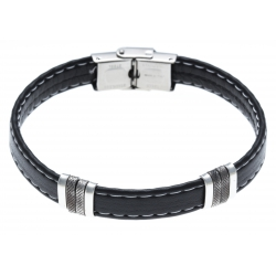 Bracelet acier pour homme - cuir synthétique  - 21 cm