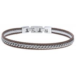 Bracelet acier 2 tons - 2 câbles acier marron - chaine acier blanc - 19,5+1,5cm - réglable