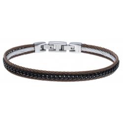 Bracelet acier 3 tons - 2 câbles acier marron - chaine acier noir - 19,5+1,5cm - réglable