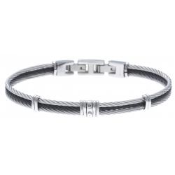 Bracelet acier - 3 cables acier blanc/noir/blanc - 19,5+1,5cm - réglable