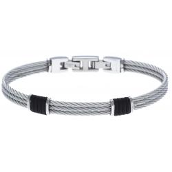 Bracelet acier - 3 cables acier - corde nautique noir - 19,5+1,5cm - réglable