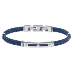 Bracelet acier - 3 cables acier bleu - 19,5+1,5cm - réglable
