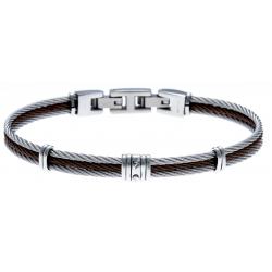 Bracelet acier - 3 cables acier blanc/marron/blanc - 19,5+1,5cm - réglable