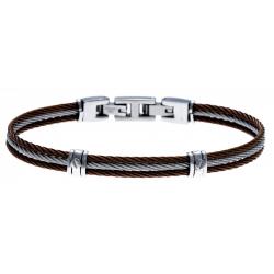 Bracelet acier - 3 cables acier marron/blanc/marron - 19,5+1,5cm - réglable