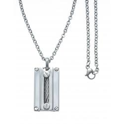 Collier acier - câble acier blanc - 45+5cm