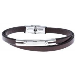 Bracelet acier - cuir marron italien - 2 rangs - 21,5cm - réglable