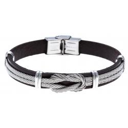 Bracelet acier - cuir marron italien - cable acier - nœud - 21,5cm - réglable
